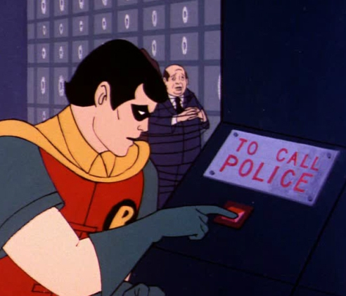 "Robin uses the ""To Call Police"" button in the United States Government Building"