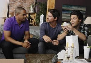 Brad (Damon Wayans Jr.), Dave (Zachary Knighton), and Max (Adam Pally) from ABC's Happy Endings