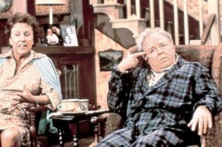 Jean Stapleton and Carroll O'Conner as the Bunkers in All in the Family.