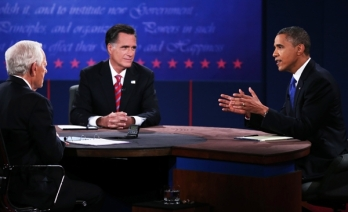 Bob Schieffer, Mitt Romney and Barack Obama, third presidential debate, Lynn University, October 16, 2012.