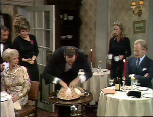 "John Cleese as Basil Fawlty in Fawlty Towers, ""Gourmet Night."""