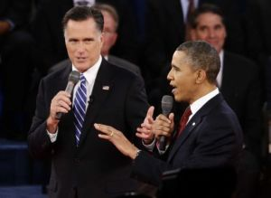 Mitt Romney and Barack Obama, second presidential debate, Hofstra University. October 16, 2012.