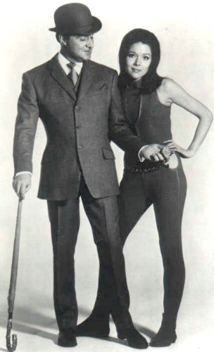 Patrick Macnee as John Steed and Diana Rigg as Emma Peel in The Avengers.