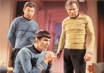 DeForrest Kelly, Leonard Nimoy, and William Shatner in Star Trek
