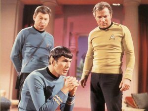 DeForrest Kelly, Leonard Nimoy, and William Shatner in Stark Trek