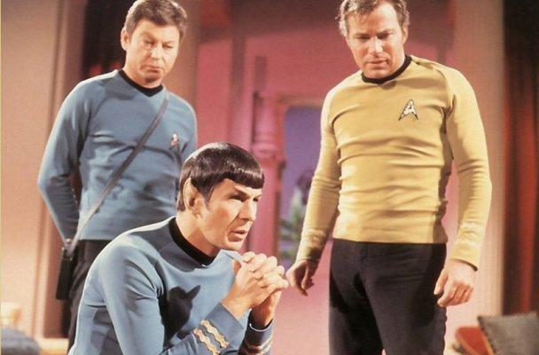 DeForrest Kelly, Leonard Nimoy, and William Shatner in Star Trek