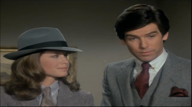 "Stephanie Zimbalist and Pierce Brosnan, Remington Steele, ""Steele Trap."""