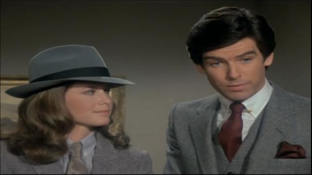 "Stephanie Zimbalist and Pierce Brosnan, Remington Steele, ""Steele Trap."""