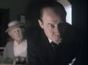 "Joan Hickson as Miss Marple and David Horovitch as Inspector Slack, Miss Marple, ""Murder at the Vicarage"""