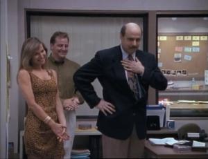 "Linda Doucett as Darlene and Jeffrey Tambor as Hank Kingsley, The Larry Sanders Show, ""Hank's Contract"""
