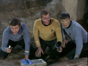 Grant Woods as Lt. Kelowitz, William Shatner as Captain James T. Kirk, Leonard Nimoy as Mr. Spock.