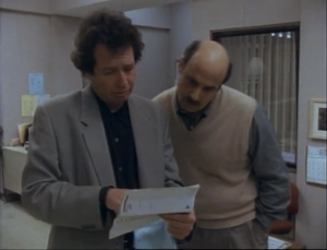 Garry Shandling as Larry Sanders and Jeffrey Tambor as Hank Kingsley, The Larry Sanders Show.