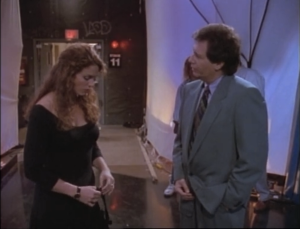 Megan Gallagher as Jeannie Sanders and Garry Shandling as Larry Sanders, The Larry Sanders Show.