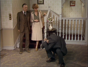 "Elspet Gray as Dr. Abbott, Basil Henson as Dr. Abbott, John Cleese as Basil Fawlty, Fawlty Towers, ""The Psychiatrist"""