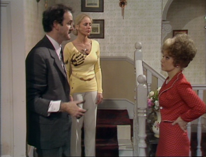 "Luan Peters as Raylene Miles, John Cleese as Basil Fawlty and Prunella Scales as Sybil Fawlty, Fawlty Towers, ""The Psychiatrist"""