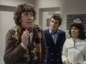 "Tom Baker as The Fourth Doctor, Ian Marter as Harry Sullivan, Elisabeth Sladen as Sarah Jane Smith, Doctor Who, ""The Ark in Space"""