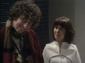 "Tom Baker as The Fourth Doctor and Elisabeth Sladen as Sarah Jane Smith, Doctor Who, ""The Ark in Space"""