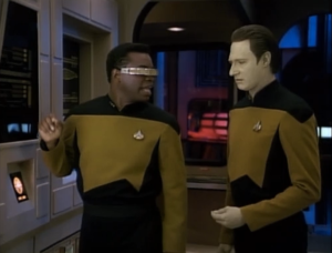"Levar Burton as Geordi LaForge and Brent Spiner as Data, Star Trek: The Next Generation, ""The Defector"""