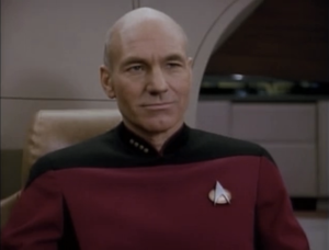 "Patrick Stewart as Captain Jean-Luc Picard, Star Trek: The Next Generation, ""The Defector"""