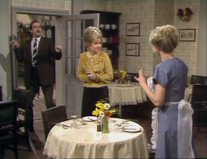 "John Cleese as Basil Fawlty, Prunella Scales as Sybil Fawlty, Connie Booth as Polly Sherman, Fawlty Towers, ""Communication Problems"""