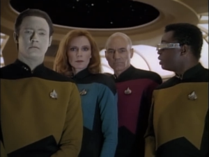 "Brent Spiner as Data, Gates McFadden as Dr. Beverly Crusher, Patrick Stewart as Captain Jean-Luc Picard, Levar Burton as Geordi LaForge, Star Trek: The Next Generation, ""The Defector"""