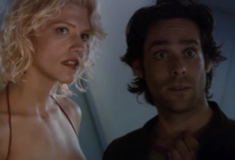 "Tricia Helfer as Number Six and James Callis as Gaius Baltar, Battlestar Galactica, ""33"""