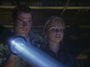 "Ben Browder as John Crichton and Alyssa-Jane Cook as Gilina, Farscape, ""PK Tech Girl"""
