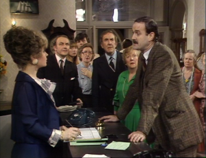 "Prunella Scales as Sybil Fawlty and John Cleese as Basil Fawlty, Fawlty Towers, ""Waldorf Salad"""