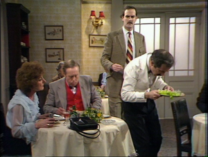 "John Cleese as Basil Fawlty and Andrew Sachs as Manuel, Fawlty Towers, ""Waldorf Salad"""
