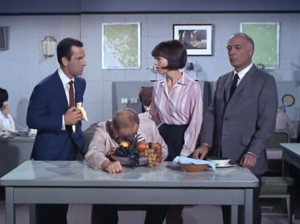 "Don Adams as Maxwell Smart, Barbara Feldon as Agent 99 and Edward Platt as the Chief, Get Smart, ""Kisses for KAOS"""
