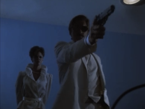"Alex Cord as Archangel and Deborah Pratt as Marella, Airwolf, ""Fallen Angel"""