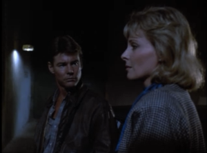"Jan-Michael Vincent as Stringfellow Hawke and Camilla Sparv as Maria von Förster, Airwolf, ""Fallen Angel"""