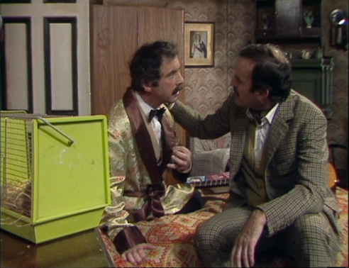 "Andrew Sachs as Manuel and John Cleese as Basil Fawlty, Fawlty Towers, ""Basil the Rat"""