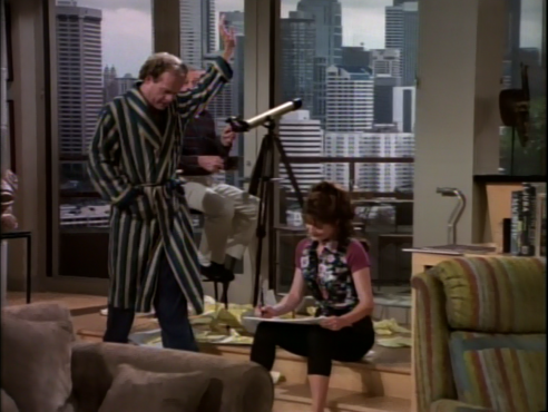 Frasier waves hello to Irene across the way