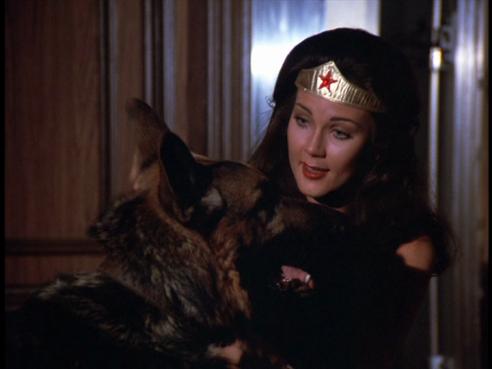 Wonder Woman talks to the guard dog